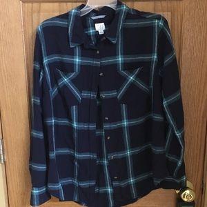 Plaid button down blouse
